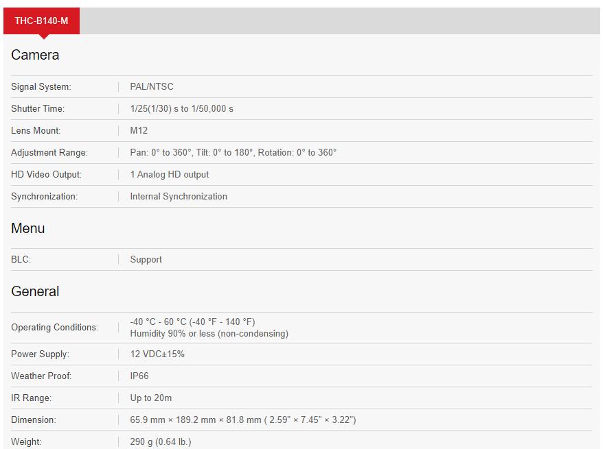 مشخصات دوربین مداربسته هایلوک مدل Hilook THC-B140-M
