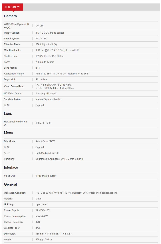 مشخصات دوربین مداربسته هایلوک مدل Hilook THC-D340-VF