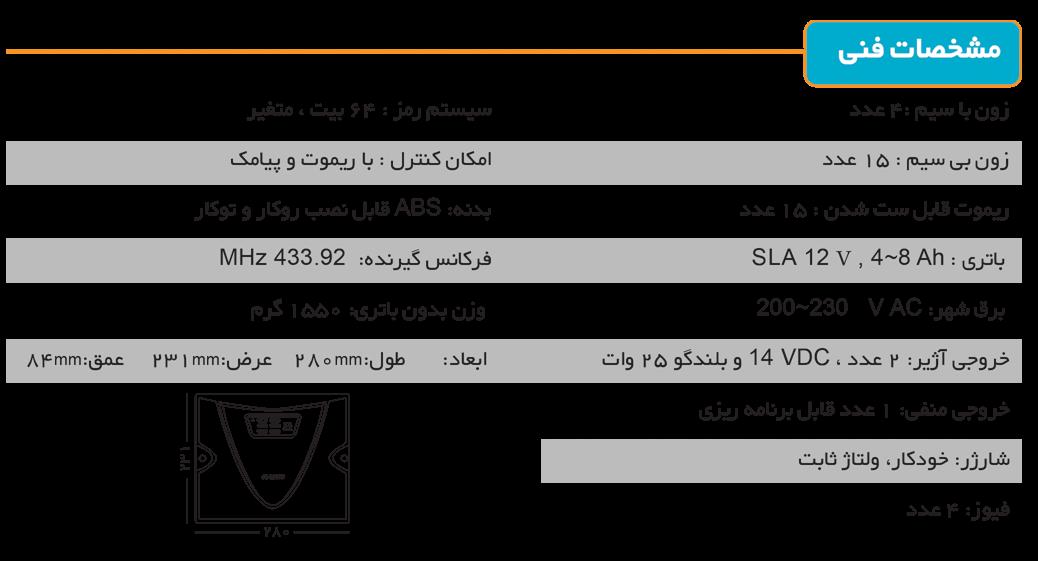 مشخصات دزدگیر کلاسیک CLASSIC Z4 ULTRA