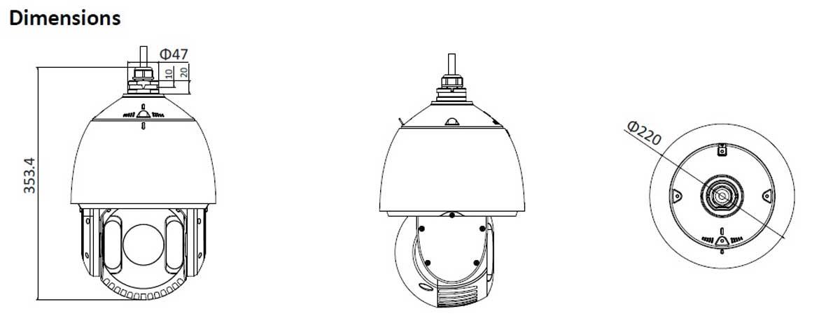 ابعاد دوربین مداربسته تحت شبکه هایک ویژن مدل DS-2DE7220IW-AE